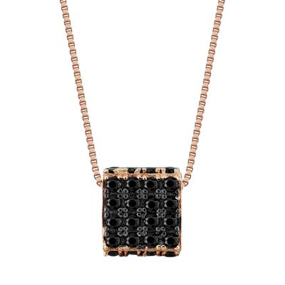 Μενταγιόν Κύβος Με Μαύρες Πέτρες Από Ροζ Χρυσό Κ14 M77221