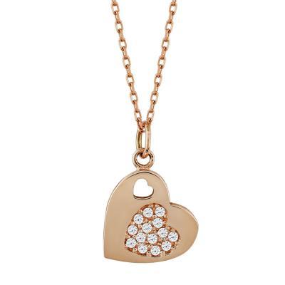 Μενταγιόν Kαρδούλα Με Πέτρες Από Ροζ Χρυσό Κ14 M87155