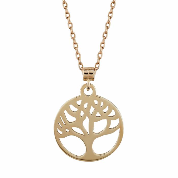 Μενταγιόν Το Δέντρο Της Ζωής Από Ροζ Χρυσό Κ14 M04531
