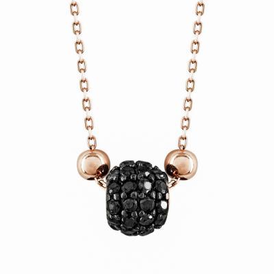 Μενταγιόν Βαρελάκι Με Μαύρες Πέτρες Από Ροζ Χρυσό Κ14 M95739