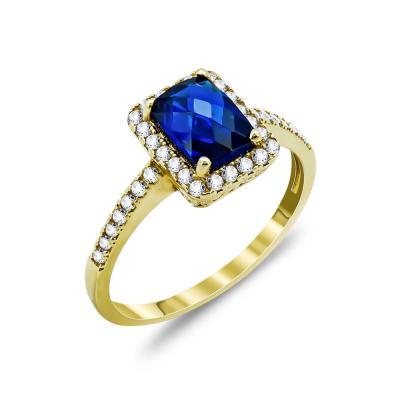 Δαχτυλίδι Μονόπετρο Με Μπλε Πέτρα Από Κίτρινο Χρυσό Κ14 DX74412