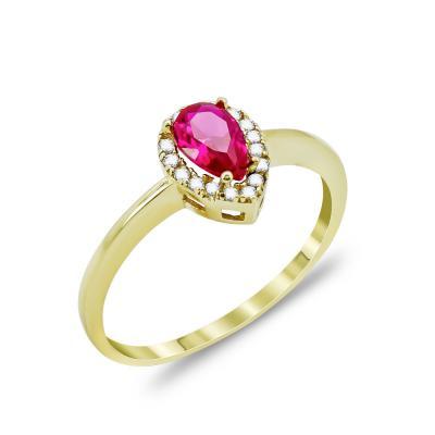 Δαχτυλίδι Δάκρυ Με Κόκκινη Πέτρα Από Κίτρινο Χρυσό Κ14 DX05266