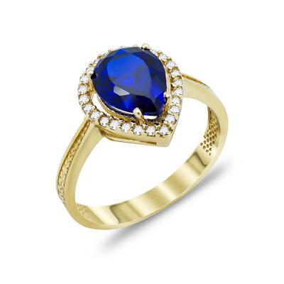 Δαχτυλίδι Δάκρυ Με Μπλε Πέτρα Από Κίτρινο Χρυσό Κ14 DX03232