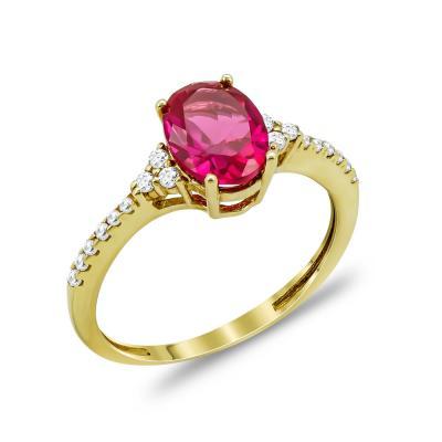Δαχτυλίδι Μονόπετρο Με Κόκκινη Πέτρα Από Κίτρινο Χρυσό Κ14 DX66428