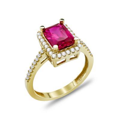 Δαχτυλίδι Μονόπετρο Με Κόκκινη Πέτρα Από Κίτρινο Χρυσό Κ14 DX03371