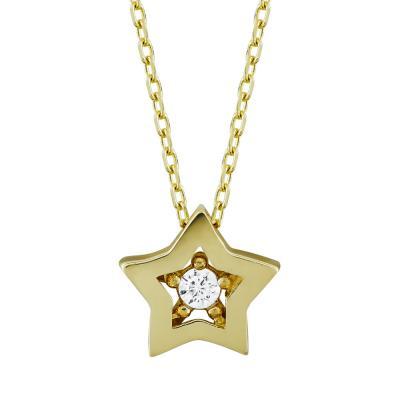 Μενταγιόν Αστεράκια Από Κίτρινο Χρυσό Κ14 M95634