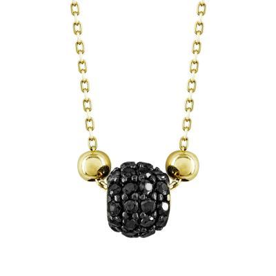 Μενταγιόν Βαρελάκι Με Μαύρες Πέτρες Από Κίτρινο Χρυσό Κ14 M95738