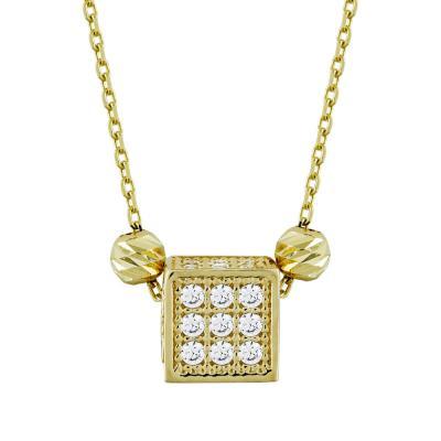 Μενταγιόν Κύβος Με Πέτρες Από Κίτρινο Χρυσό Κ14 M91834
