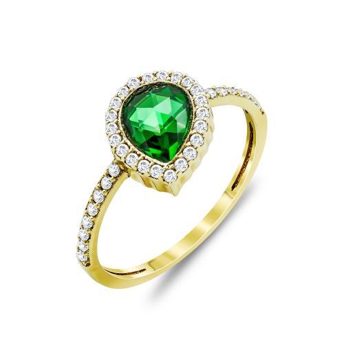 Δαχτυλίδι Δάκρυ Μονόπετρο Με Πράσινη Πέτρα Από Κίτρινο Χρυσό Κ14 DX97545