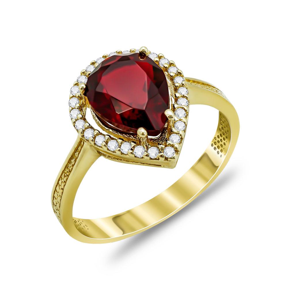 Δαχτυλίδι Δάκρυ Μονόπετρο Με Κόκκινη Πέτρα Από Κίτρινο Χρυσό Κ14 DX03244