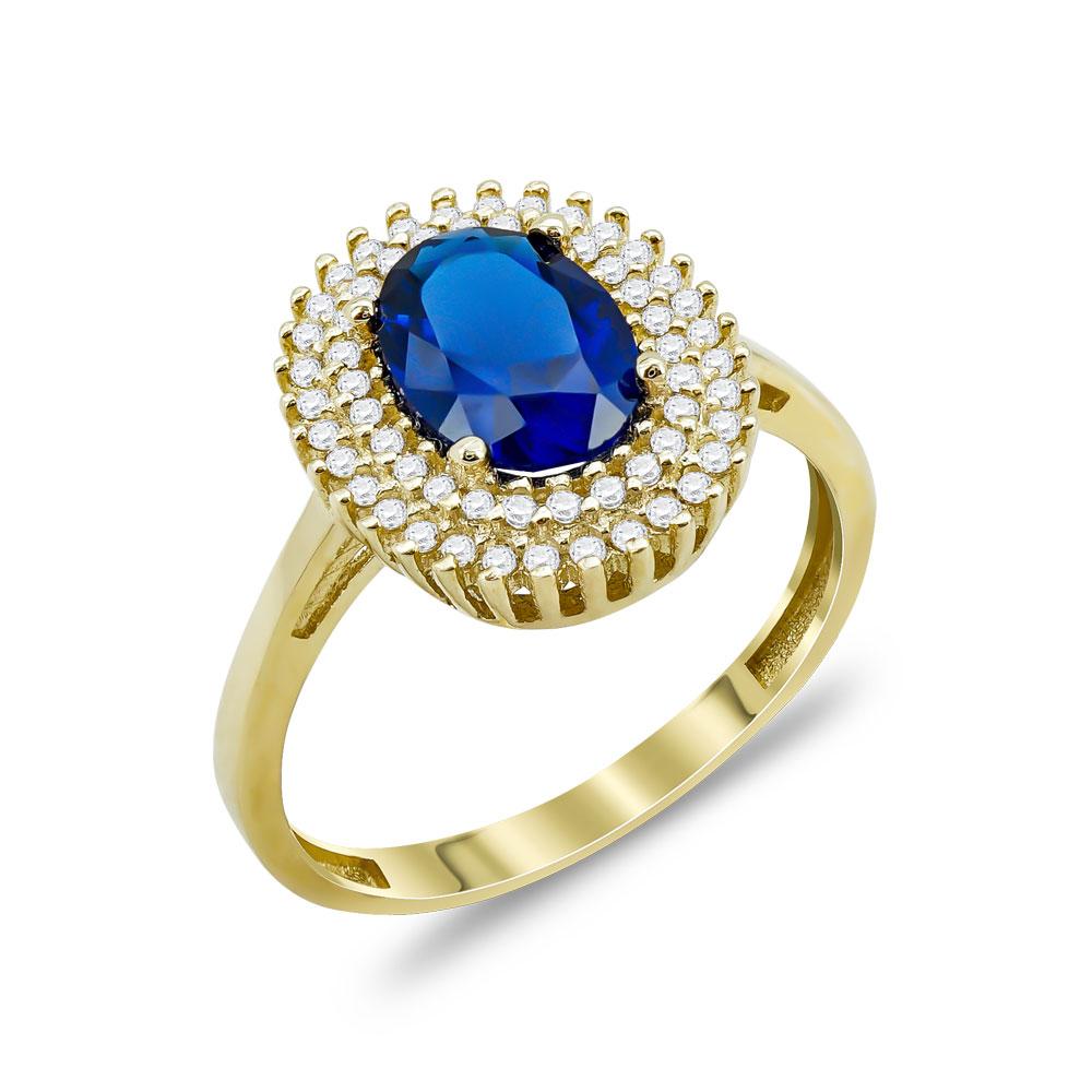 Δαχτυλίδι Μονόπετρο Ροζέτα Με Μπλε Πέτρα Από Κίτρινο Χρυσό Κ14 DX00828