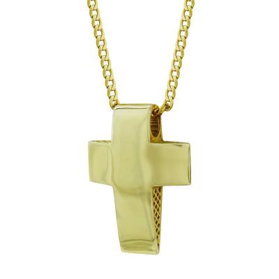 Σταυρός Βάπτισης Αντρικός Σε Κίτρινο Χρυσό 14 Καρατίων ST2569