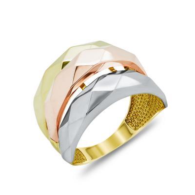 Δαχτυλίδι Τριπλό Από Τρίχρωμο Χρυσό Κ14 DX04895