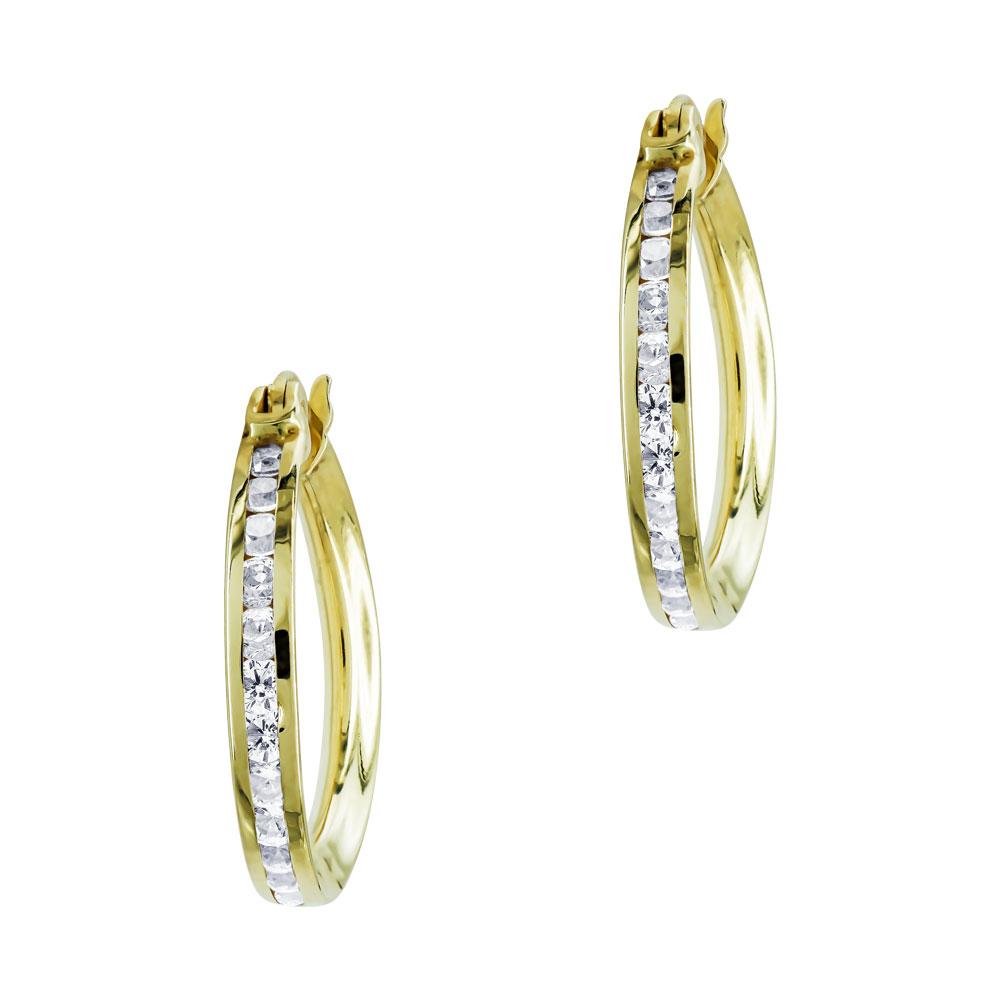 Σκουλαρίκια Kρικάκια Με Πέτρες Από Κίτρινο Χρυσό Κ14 SK00644