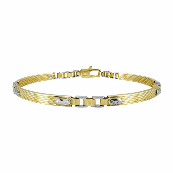 Ανδρικό Βραχιόλι Από Δίχρωμο Χρυσό Κ9 AVR205