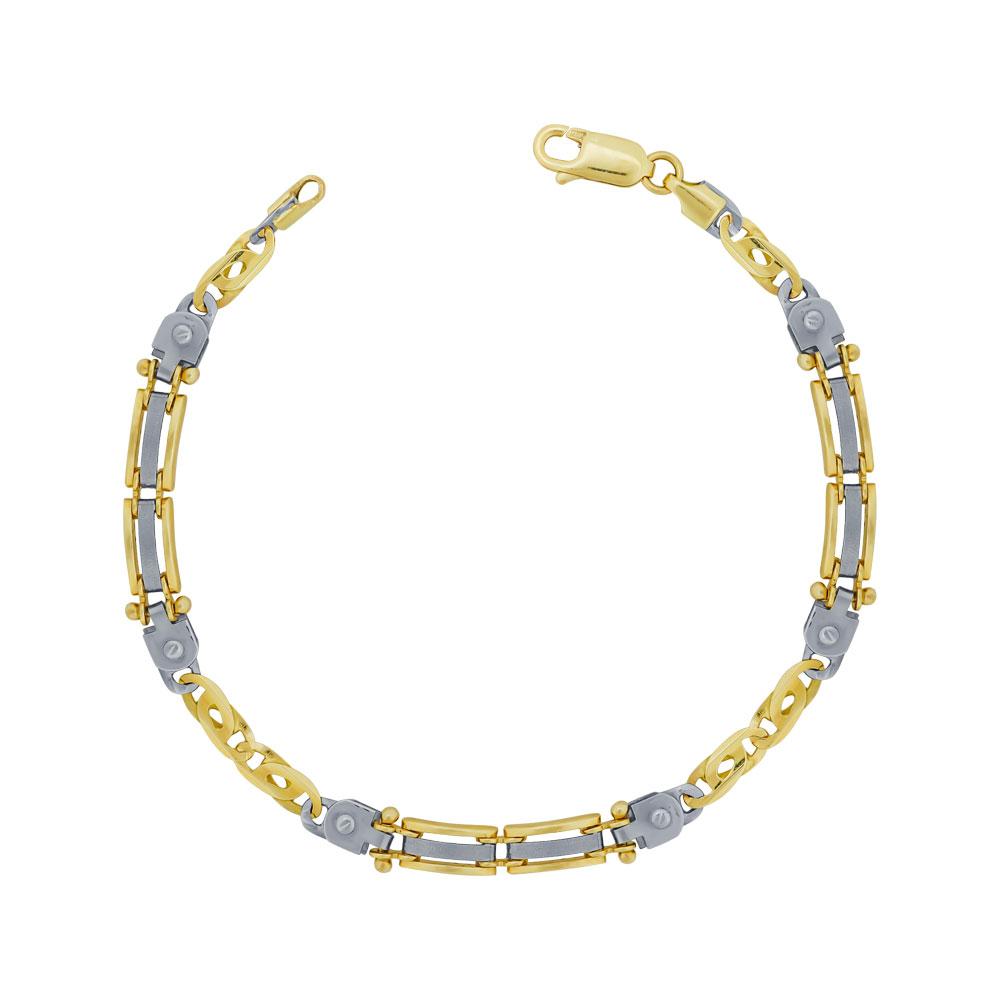 Ανδρικό Βραχιόλι Από Δίχρωμο Χρυσό Κ9 AVR211