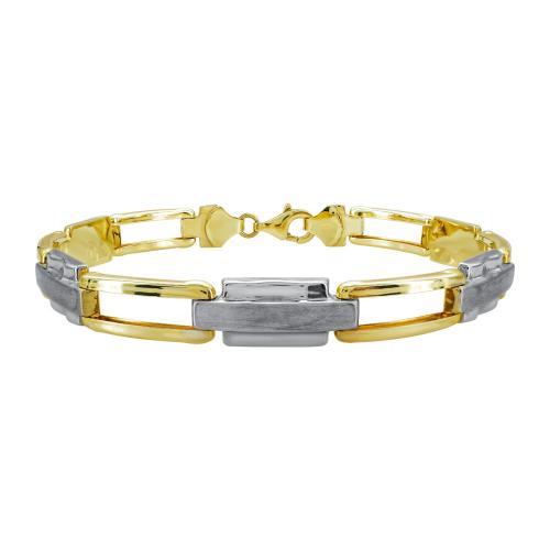 Ανδρικό Βραχιόλι Από Δίχρωμο Χρυσό Κ9 AVR219