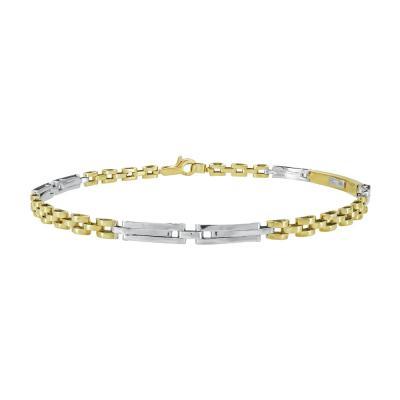 Ανδρικό Βραχιόλι Από Δίχρωμο Χρυσό Κ14 AVR203