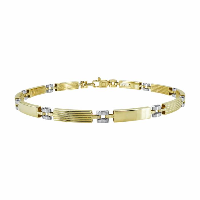 Ανδρικό Βραχιόλι Από Δίχρωμο Χρυσό Κ9 AVR206