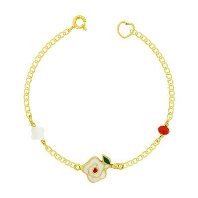 Παιδικό Βραχιόλι Mε Λουλούδι Από Επιχρυσωμένο Ασήμι PVR422