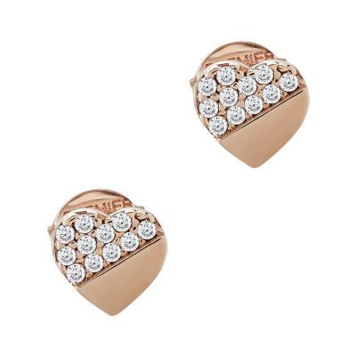 Σκουλαρίκια Καρδούλα Με Πέτρες Από Ροζ Χρυσό Κ14 SK05070