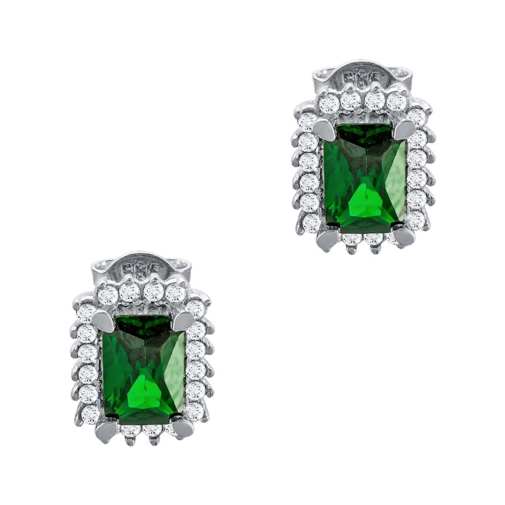 Σκουλαρίκια Με Πράσινες Πέτρες Από Λευκόχρυσο Κ14 SK00328