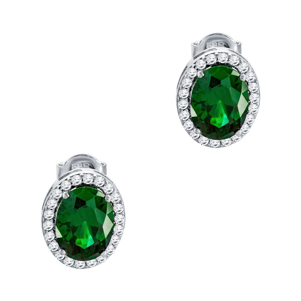 Σκουλαρίκια Με Πράσινες Πέτρες Από Λευκόχρυσο Κ14 SK00597