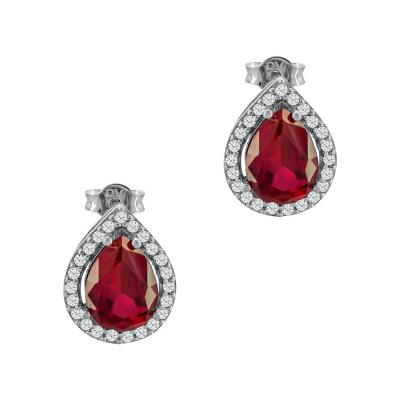 Σκουλαρίκια Δάκρυ Με Κόκκινες Πέτρες Από Λευκόχρυσο Κ14 SK03247