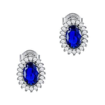 Σκουλαρίκια Με Μπλε Πέτρες Από Λευκόχρυσο Κ14 SK90702