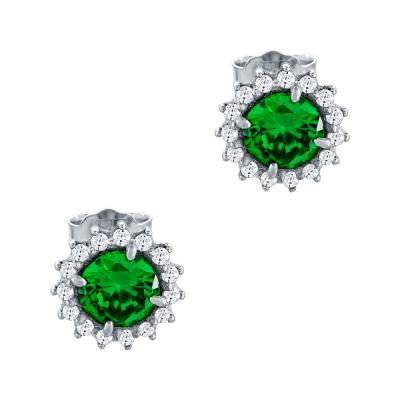 Σκουλαρίκια Με Πράσινες Πέτρες Από Λευκόχρυσο Κ14 SK64572