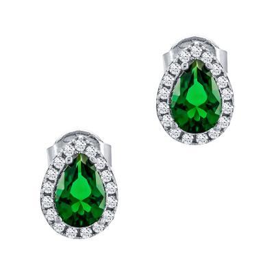 Σκουλαρίκια Με Πράσινες Πέτρες Από Λευκόχρυσο Κ14 SK77406