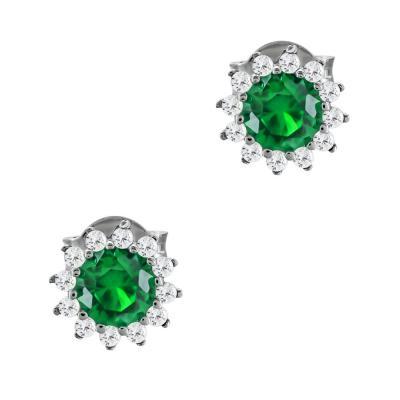 Σκουλαρίκια Με Πράσινες Πέτρες Από Λευκόχρυσο Κ14 SK03504