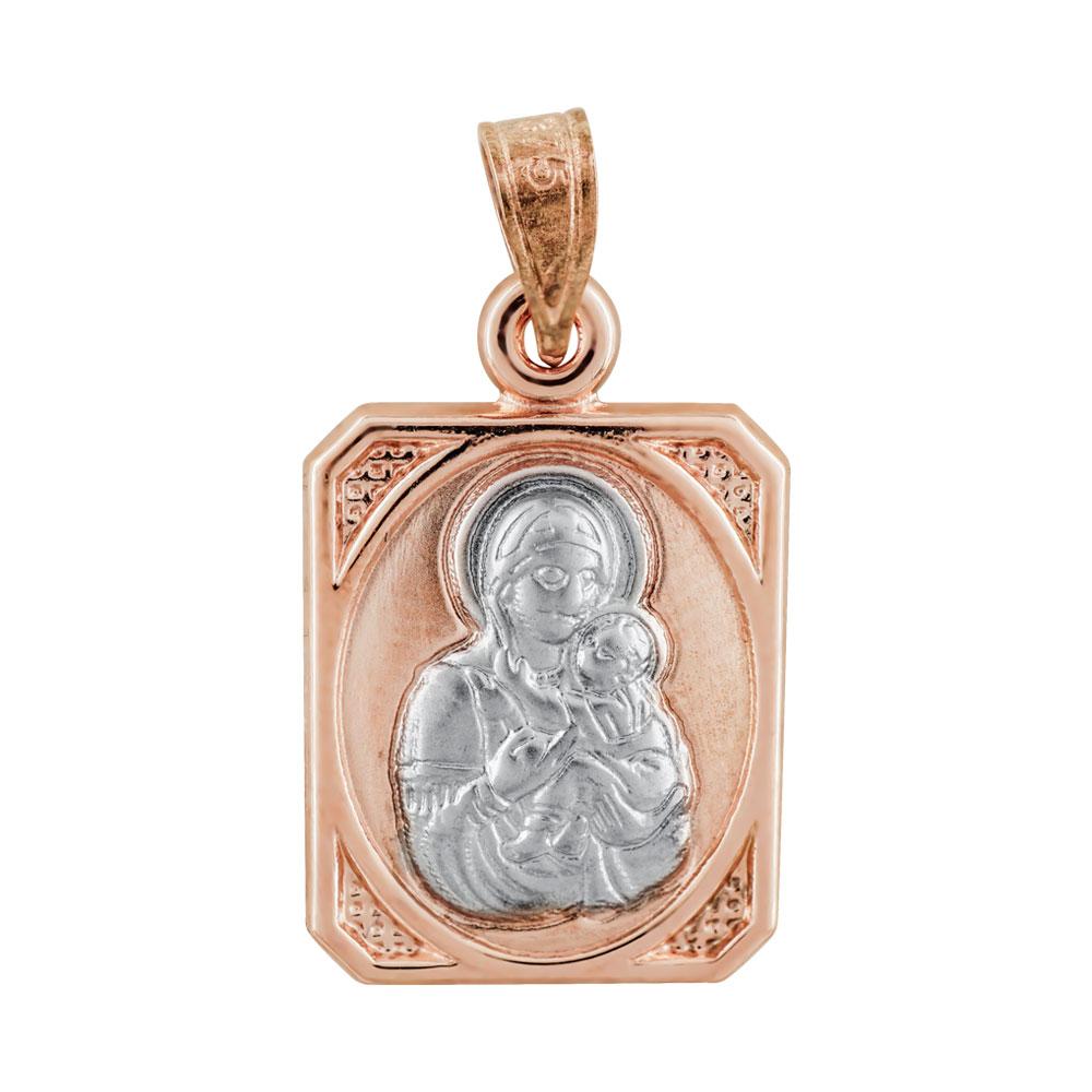 Φυλαχτό με την Παναγία Aπό Δίχρωμο Χρυσό K9 PΑ94401