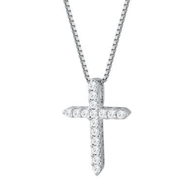 Σταυρουδάκι Μενταγιόν Με Διαμάντια Brilliant Από Λευκόχρυσο Κ18 STM091735