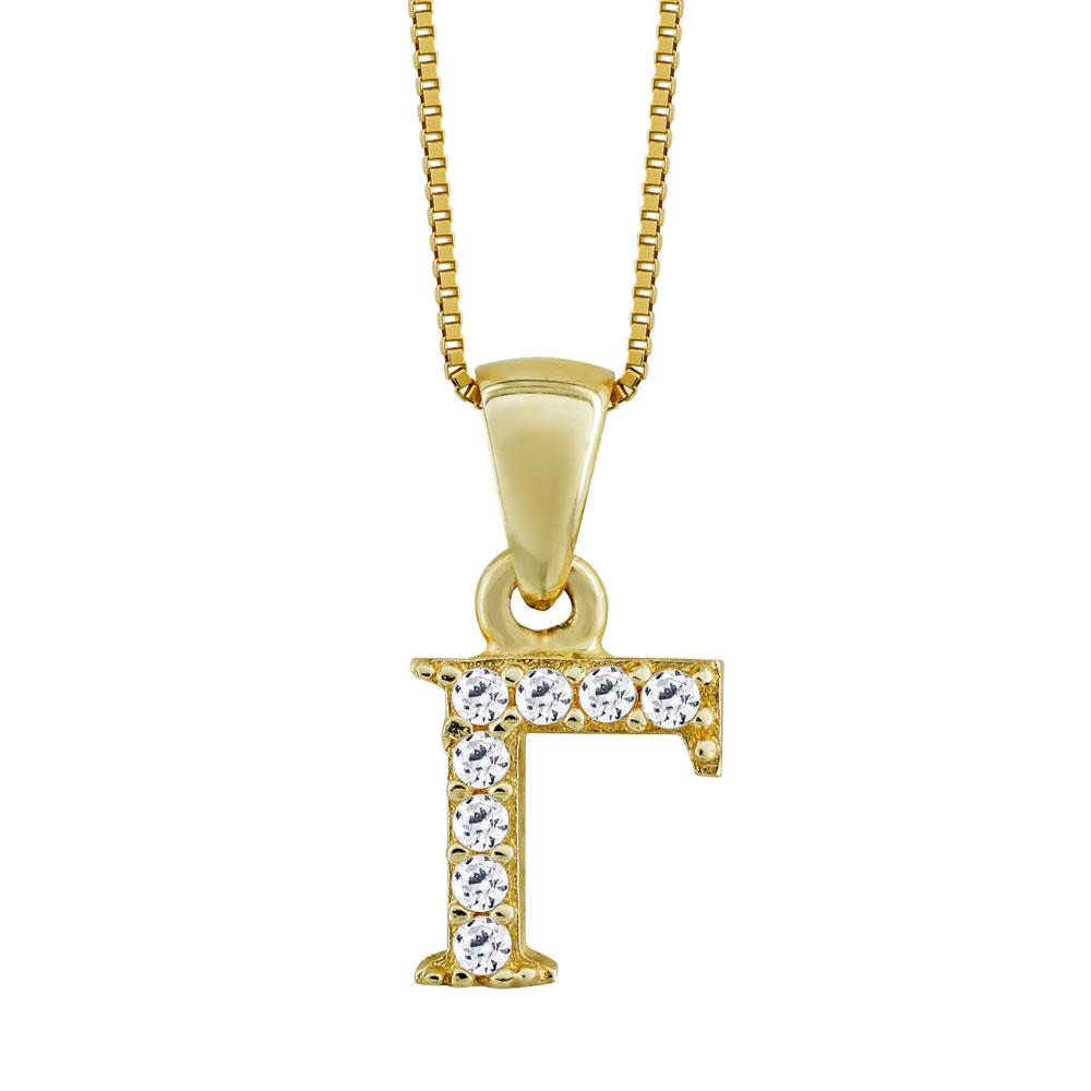 """Μονόγραμμα Μενταγιόν """"Γ"""" Από Κίτρινο Χρυσό Κ14 MG69021"""
