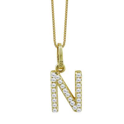 """Μονόγραμμα Μενταγιόν """"N"""" Από Κίτρινο Χρυσό Κ14 MG69043"""