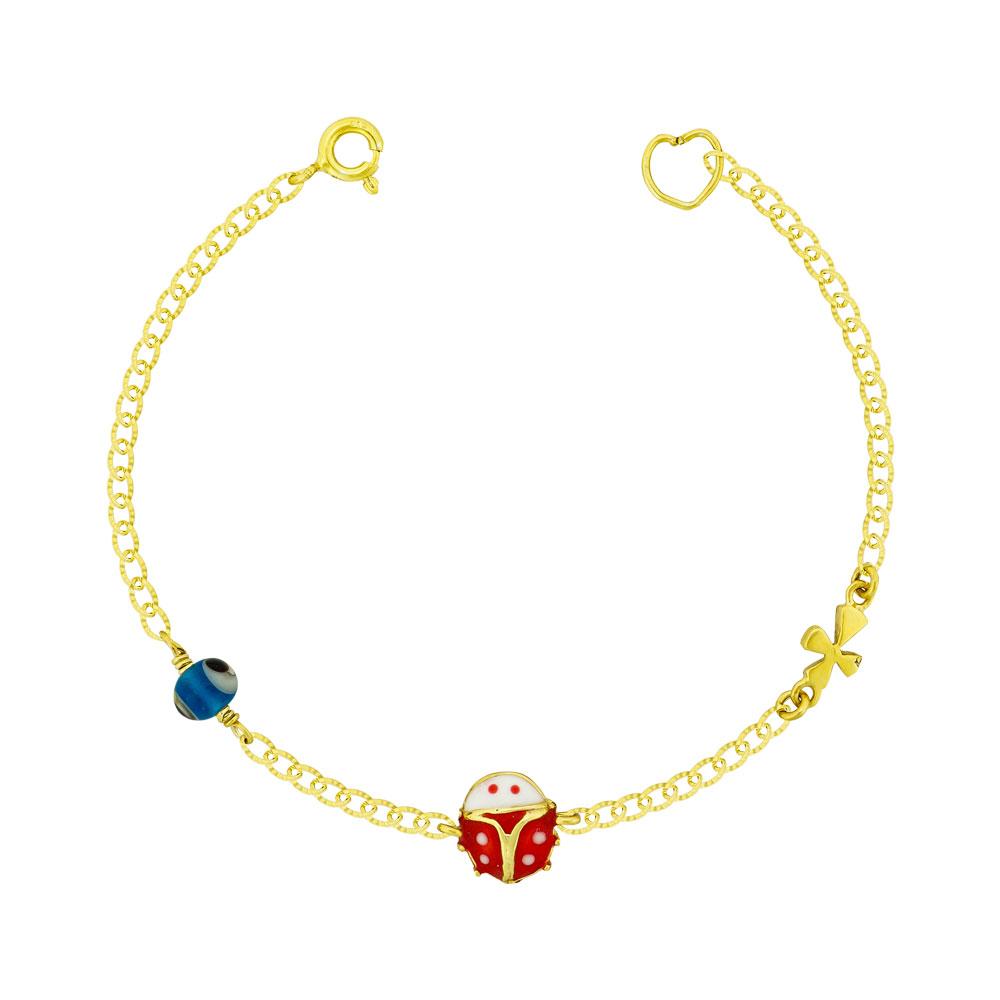Παιδικό Βραχιόλι Mε Πασχαλίτσα Από Επιχρυσωμένο Ασήμι PVR417