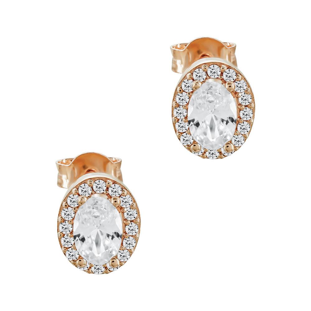 Σκουλαρίκια Με Πέτρες Από Ροζ Χρυσό Κ14 SK04546