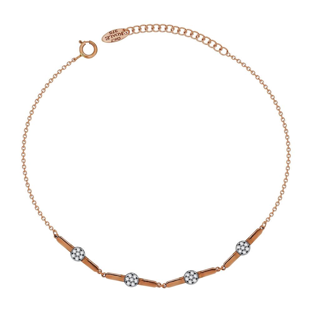 Βραχιόλι Με Πέτρες Από Ροζ Χρυσό Κ9 VR686