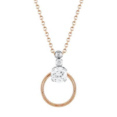 Μενταγιόν Kύκλος Με Πέτρες Από Ροζ Χρυσό Κ9 M529