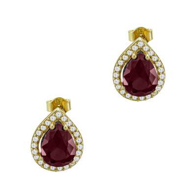 Σκουλαρίκια Δάκρυ Με Kόκκινες Πέτρες Από Κίτρινο Χρυσό Κ14 SK03246