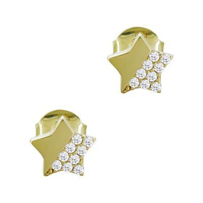 Σκουλαρίκια Αστεράκια Με Πέτρες Από Κίτρινο Χρυσό Κ14 SK05021