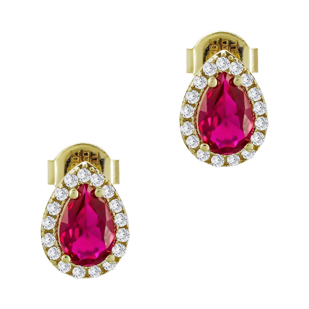 Σκουλαρίκια Δάκρυ Με Kόκκινες Πέτρες Από Κίτρινο Χρυσό Κ14 SK77408