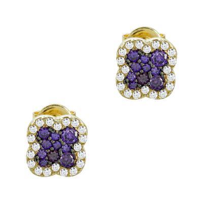 Σκουλαρίκια Με Μωβ Πέτρες Από Κίτρινο Χρυσό Κ14 SK86866