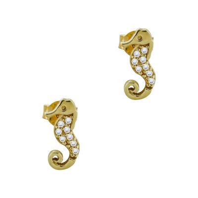 Σκουλαρίκια Ιππόκαμπος Από Κίτρινο Χρυσό Κ9 SK83742