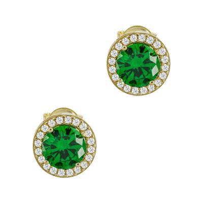 Σκουλαρίκια Με Πράσινες Πέτρες Από Κίτρινο Χρυσό Κ14 SK00696