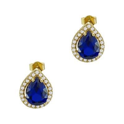 Σκουλαρίκια Με Μπλε Πέτρες Από Κίτρινο Χρυσό Κ14 SK03234