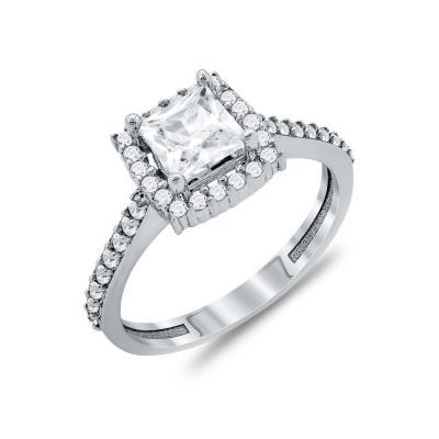 Δαχτυλίδι Μονόπετρο Από Λευκόχρυσο Κ14 DX94609