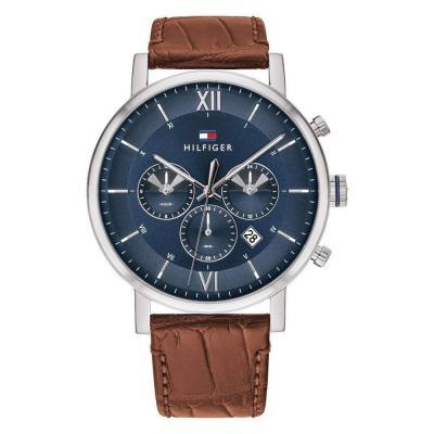Τοmmy HILFIGER Mens Chronograph Brown Leather Strap 1710393