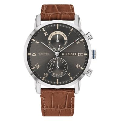 Tοmmy HILFIGER Mens Chronograph Brown Leather Strap 1710398